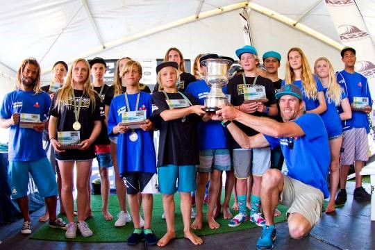 Pictured: The victorious Cape Town Surfriders team hold aloft the coveted Freedom Cup that they won for accumulating the highest points total at the Billabong SA Junior Champs at Jeffreys Bay Photo: (c) Ian Thurtell