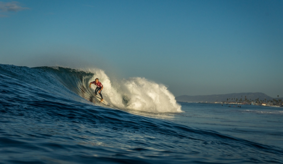 South African team captain Shane Sykes won his U18 boys Round 2 heat at the 2015 VISSLA ISA World Junior Surfing Championship in Oceanside, California on Tuesday Photo: ISA / Sean Evans