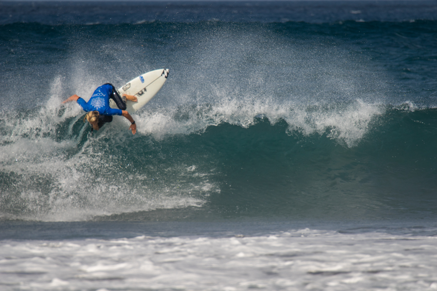 Pictured: Adin Masencamp (Strand) in action during the ISA Aloha Cup at the VISSLA ISA World Junior Championships in the Azores on Friday Photo: ISA / Evans