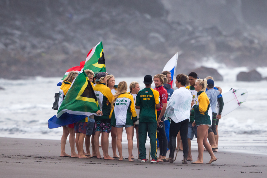 Pictured: The South African junior surfing team supporting their team mates on the beach during the VISSLA ISA World Junior Championships which ended in the Azores on Sunday.